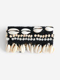 Beach Shell Beading Crocheted Bracelet - Black
