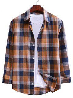 Long Sleeve Plaid Casual Shirt - Camel Brown S