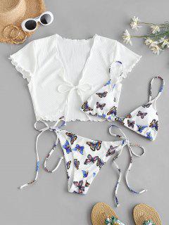 ZAFULリブ付き蝶はスリーピースストリングビキニの水着 - 白 S