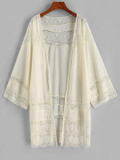 Lace Panel Chiffon Cover-up Kimono - Light Yellow S