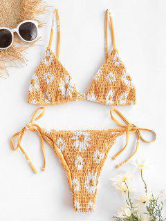 ZAFUL Daisy Print Smocked String Bikini Swimwear - Deep Yellow M