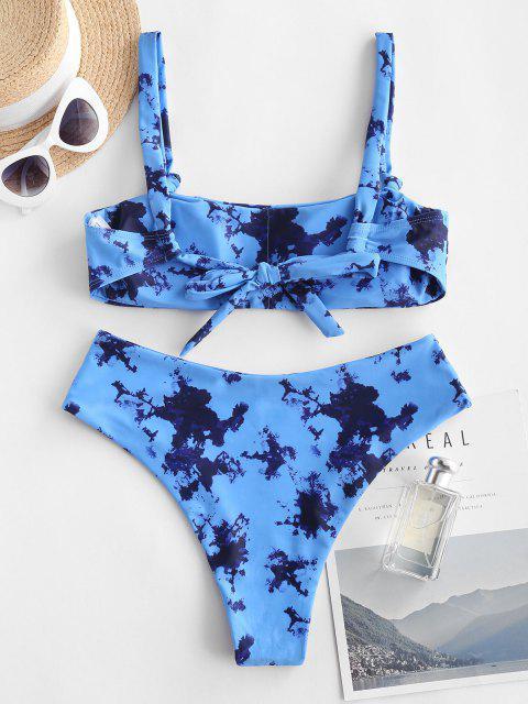 latest ZAFUL Tie Dye High Leg Scoop Neck Bikini Swimsuit - BLUE M Mobile