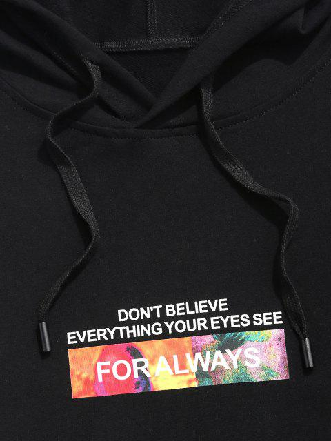 latest Letter Graphic Print Kangaroo Pocket Slogan Hoodie - BLACK XL Mobile