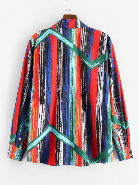 outfit Retro Stripes Paint Button Up Shirt - GREENISH BLUE 2XL Mobile
