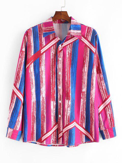 womens Retro Stripes Paint Button Up Shirt - LAVA RED M Mobile