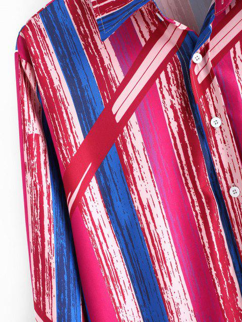 Camisa Rayada Retro Botones Pintura - Rojo Lava L Mobile