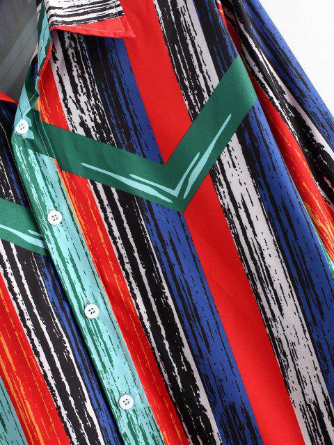 Camisa Rayada Retro Botones Pintura - Azul Verdoso M Mobile