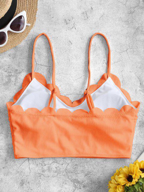 trendy ZAFUL Scalloped Ribbed Padded Bikini Top - ORANGE S Mobile