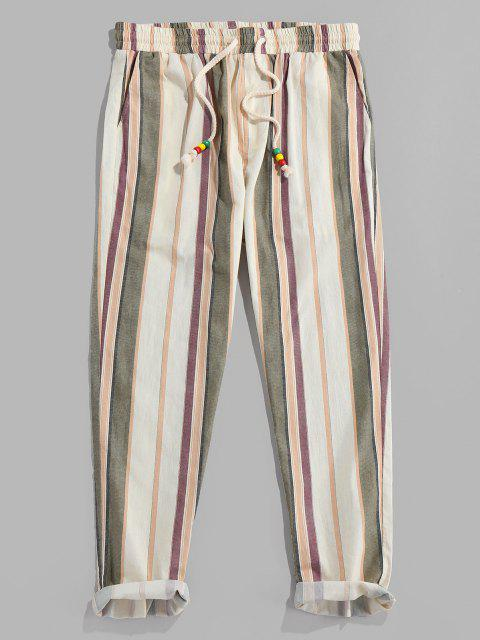 shop ZAFUL Vertical Striped Drawstring Pencil Pants - CHAMPAGNE S Mobile