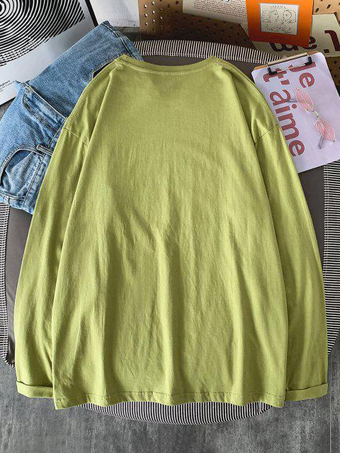 online Good Stories Slogan Print Long Sleeve Basic T-shirt - LIGHT GREEN XL Mobile