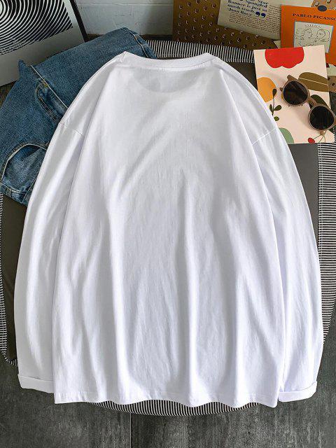 chic Good Stories Slogan Print Long Sleeve Basic T-shirt - WHITE 2XL Mobile