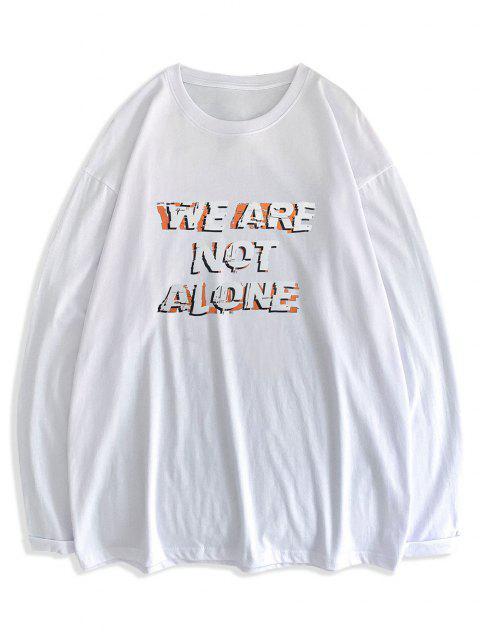 Slogan Print Streetwear Crew Neck T-shirt - أبيض L Mobile