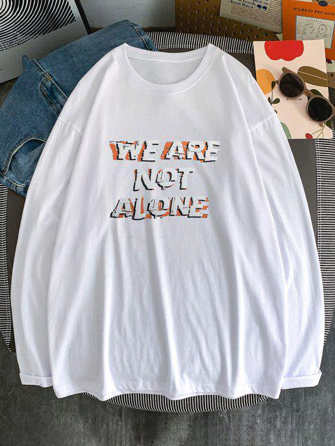 fancy Slogan Print Streetwear Crew Neck T-shirt - WHITE L Mobile