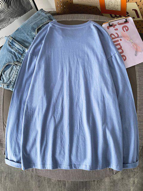 T-shirt de Manga Curta de Gola Redonda de Impressão de Letras - Koi Azul 2XL Mobile