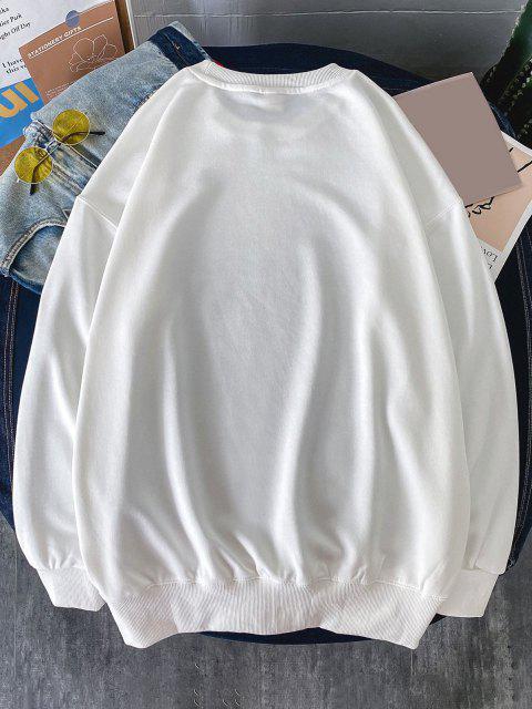 Gute Geschichten Slogan Drucken Sweatshirt mit Rundhalsausschnitt - Weiß L Mobile