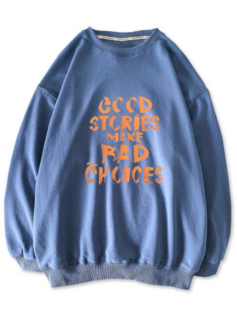 women's Good Stories Slogan Print Crew Neck Sweatshirt - BLUE IVY M Mobile