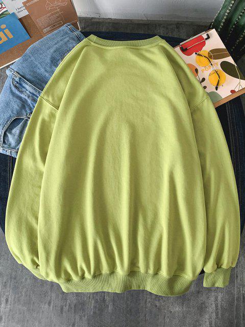 Sweat-shirt Graphique Aigle et Lettre Imprimés à Goutte Epaule - Vert clair S Mobile
