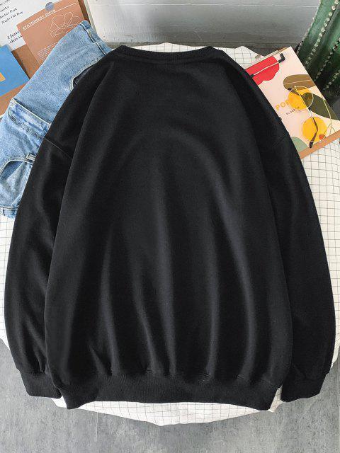 Sweat-shirt Graphique Aigle et Lettre Imprimés à Goutte Epaule - Noir 2XL Mobile