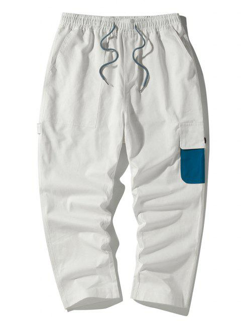 affordable Colorblock Side Flap Pocket Cargo Pants - WHITE XS Mobile