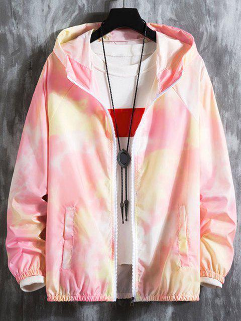 hot Tie Dye Raglan Sleeve Lightweight Sunproof Hooded Jacket - LIGHT PINK XS Mobile