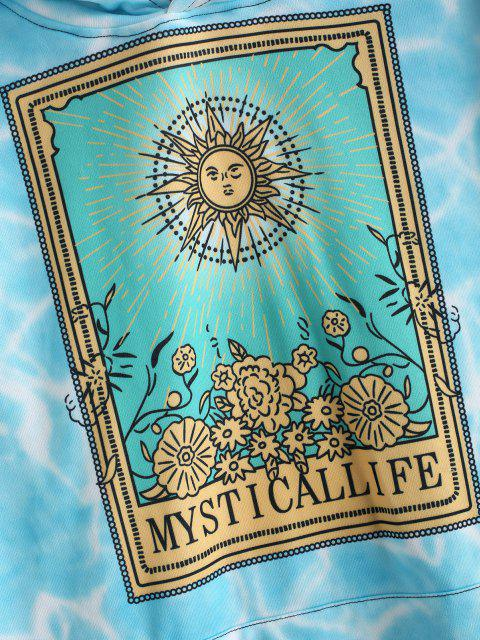 new Mystical Life Celestial Sun Floral Tie Dye Flocking Hoodie - ROBIN EGG BLUE XL Mobile