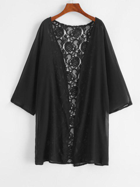 Kimono Envuelto de Gasa con Encaje y Lazo - Negro S Mobile