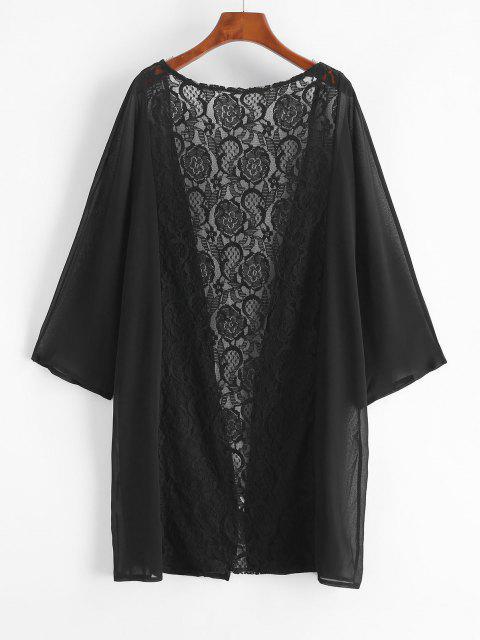 shop Lace and Chiffon Kimono Cover-up - BLACK M Mobile