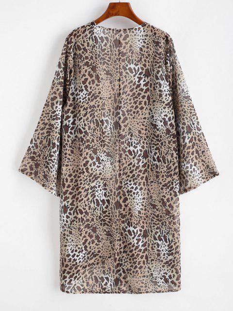fashion Leopard Long Kimono Cover-up - LIGHT COFFEE L Mobile