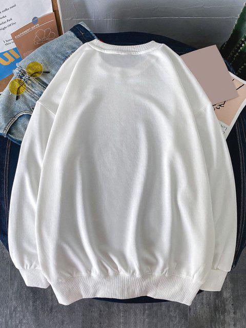 hot Slogan Print Casual Drop Shoulder Sweatshirt - WHITE M Mobile