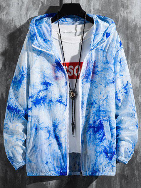 Giacca Leggera di Tie-Dye con Cappuccio e Maniche Raglan - Blu Marino  XS Mobile