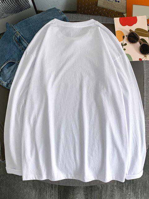 Camiseta de Manga Larga con Estampado de Letras - Blanco 2XL Mobile