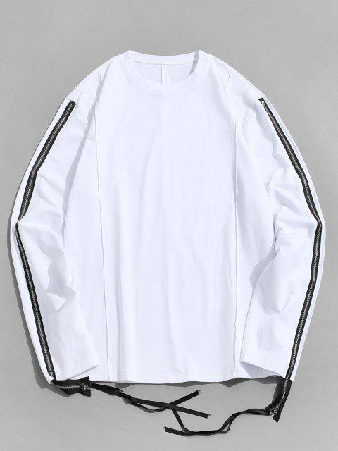 lady Pure Color Zipper Sleeve Crew Neck Sweatshirt - WHITE L Mobile