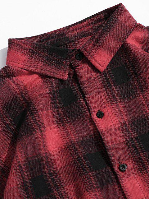 shops Checked Button Up High Low Longline Shirt - RED L Mobile