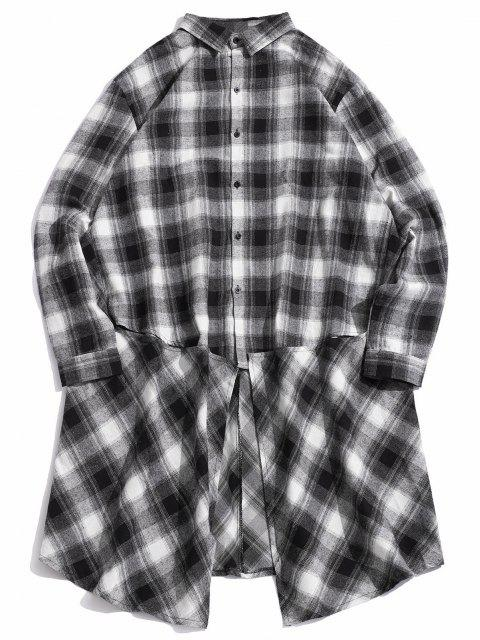 fancy Checked Button Up High Low Longline Shirt - WHITE XL Mobile