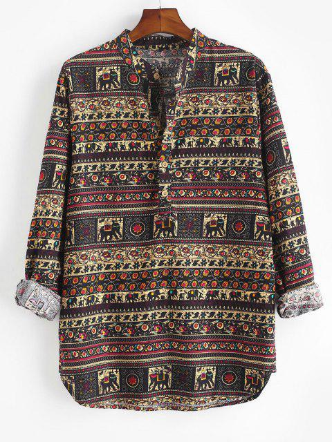 fancy Floral Striped Print Kurta Half Button Shirt - BLACK L Mobile