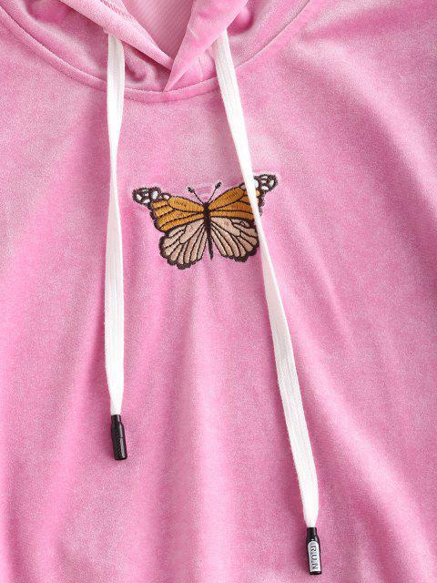 Schmetterling Besticktes Samt Tunnelzug Zweiteiler Set - Hell-Pink S Mobile
