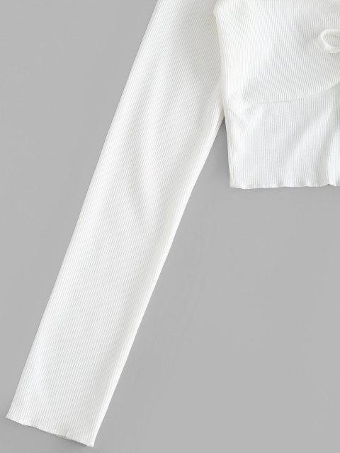 T-shirt Court Ourlet en Laitue à Col V à Cordon - Blanc L Mobile