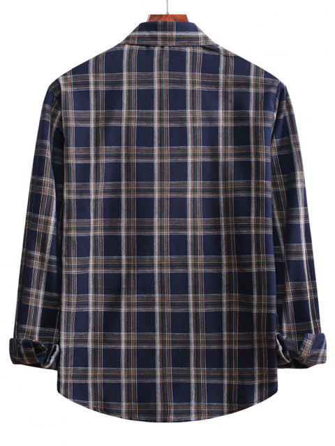 hot Plaid Curved Hem Button Up Shirt - DENIM DARK BLUE M Mobile