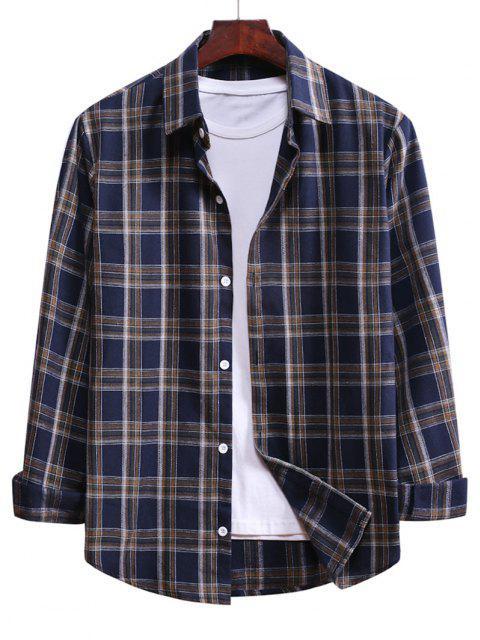 trendy Plaid Curved Hem Button Up Shirt - DENIM DARK BLUE L Mobile