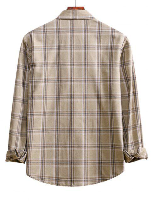 sale Plaid Curved Hem Button Up Shirt - BLANCHED ALMOND L Mobile