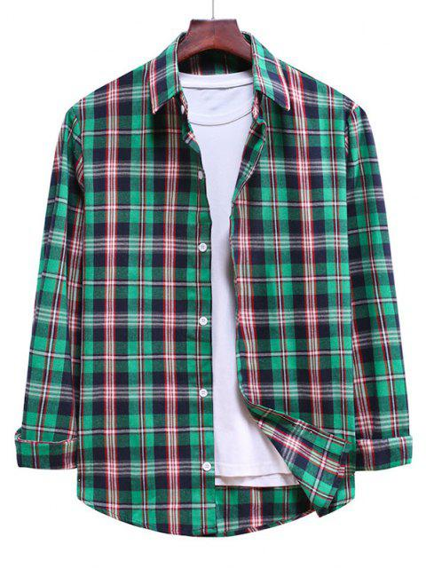 Camisa Casual a Cuadros y Botones - Mar Verde Mediana L Mobile