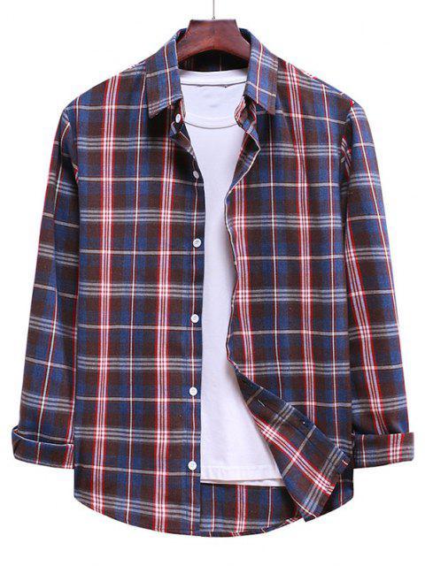 Camisa Casual a Cuadros y Botones - Azul de Seda 2XL Mobile