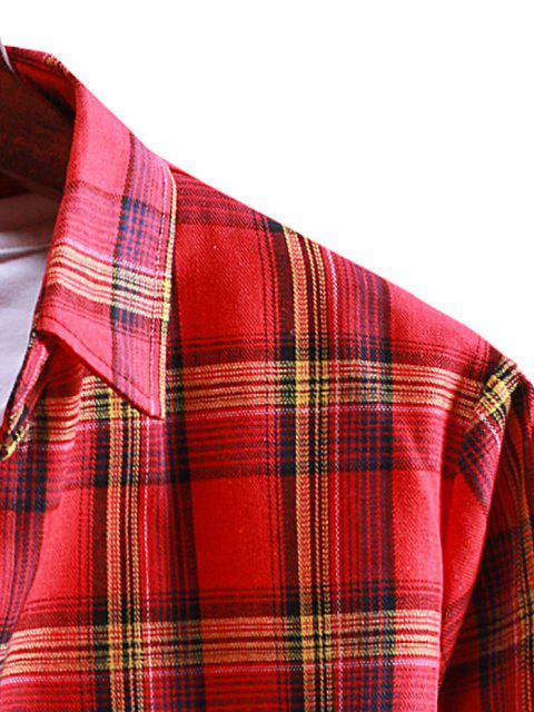 hot Plaid Button Up Long Sleeve Shirt - LAVA RED 2XL Mobile