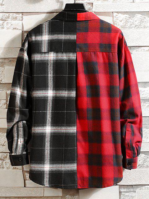 sale Colorblock Panel Pocket Patch Button Down Shirt - RED XL Mobile