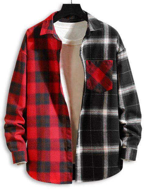 chic Colorblock Panel Pocket Patch Button Down Shirt - RED 2XL Mobile