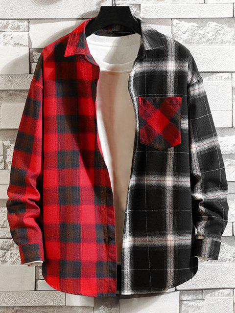 outfits Colorblock Panel Pocket Patch Button Down Shirt - RED 3XL Mobile