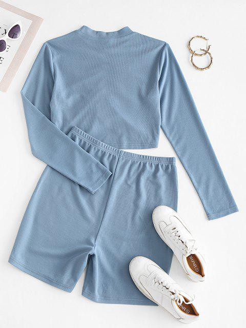 Bikini de Dos Piezas Recortado Acanalado - Azul de Seda S Mobile