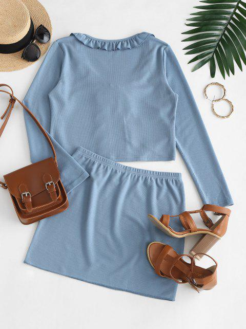 latest Ruffled Trim Tie Front Ribbed Two Piece Dress - SILK BLUE S Mobile