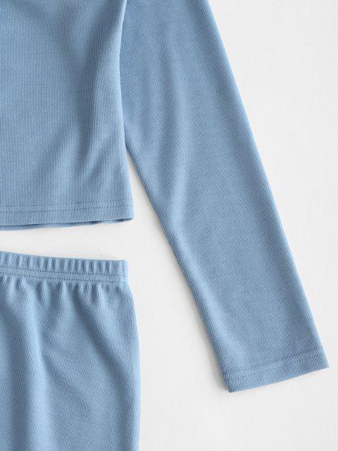 Robe Côtelée Nouée en Avant Ourlet à Volants Deux Pièces - Bleu de Soie L Mobile