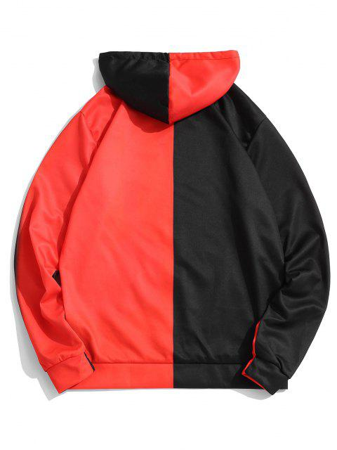best Two Tone Halloween Face Graphic Drawstring Pullover Hoodie - MULTI S Mobile